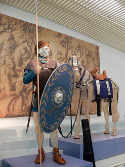 Reconstitution d'un cavalier Romain musée du Valkhof à Nimègue Pays-Bas