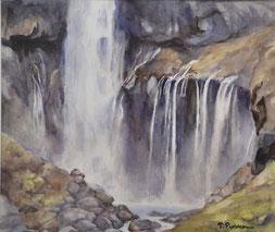 華厳の滝 (水彩・F10 )