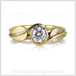 Twirling Leaves 0.50ct Double Band Engagement Ring