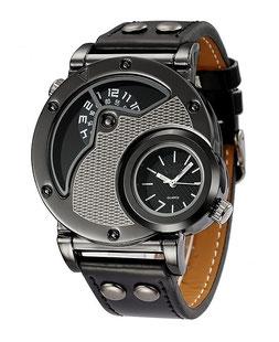montre militaire noire et Chrome double cadran en en acier inox