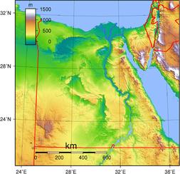 Topografische Karte von Ägypten (Q: Wikipedia, Sadalmelik)