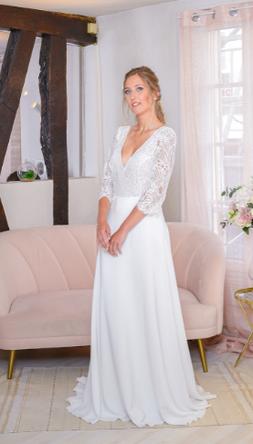 robe de mariée avec manches dentelle de calais fabrication française yvelines 78