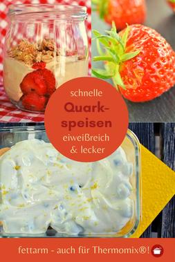Schnelle Quarkspeisen auch mit Erdbeeren #Quarkrezepte #abnehmen #lowcarb #quarkspeise #erdbeeren