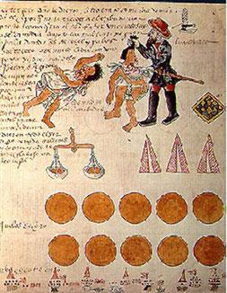 Représentation des abus de l'encomendero. Codex Kingsborough, XVIe.