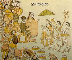 Cortés reçoit le tribut des indiens représentés par leur cacique. Lienzo de Tlaxcala, vers 1550.