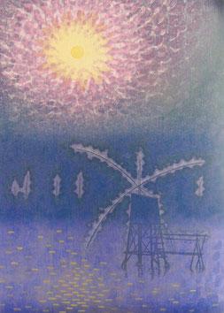 夢明かり (1986)   木版画12版20度摺