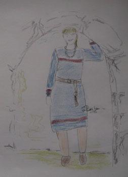 Vorplanung zum Projekt Kleid mit eingewebten Dekorstreifen