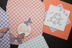 Umschlag und Karte in Grapefruit