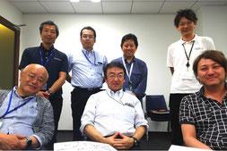 ※前列左からCKOの伊豫田さん、わたし、近藤CEO。後列左から執行役員の今西さん、CTOの市原さん、佐治さん、グループ企業から参加の和泉さん。