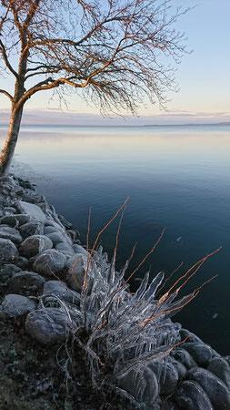 Vereistes Ufer am Vättern in Vadstena
