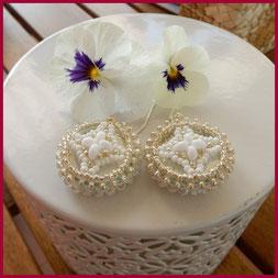 """""""Ayna"""" orecchini rotondi bianco/argento con specchietto incorporato"""