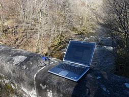 Relève des sondes de températures de l'AAPPMA des Monédières en Janvier 2015