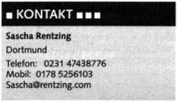 Kontaktinformationen Sascha Rentzing