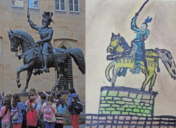 Abgleich Foto von Graf Eberhardt im Barte (Innenhof altes Schloss Stuttgart) und Kinderbild der Statue