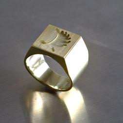 Herrenring, Siegelring, Goldschmiede Backhaus, John-Michael Mendizza, Gold 585, Einzelstück, Unikat, Kundenauftrag, 3D-Design