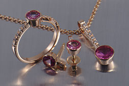 Set Rotgold 585 mit rosa Turmalin und Brillanten, Goldschmiede Backhaus, Unikat, Einzelstück, Handarbeit, Markus Backhaus