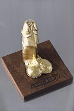 Skulptur Penis in Gelbgold 585 mit Brillant,  Anfertigung, Kundenauftrag, Unikat, Einzelstück, Brillant