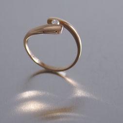 Verlobungsring, Goldschmiede Backhaus, Schmuck, Handarbeit, Unikat, Einzelstück, Markus Backhaus, Ring, Brillant, Rotgold 585