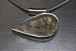 Anhänger in Silber 925 mit Dendritenachat, Goldschmiede Backhaus, Halsschmuck, Einzelstück, Unikat, Lea Sophie Ruppert