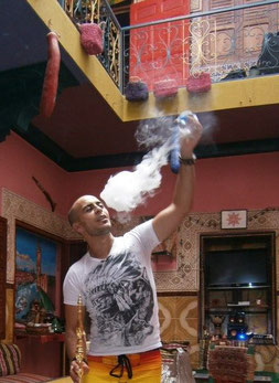 Hostel Marrakesh Rouge, smoke bubble, Marrakesh, Morocco, Africa