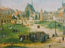 Le cimetière des Saints-Innocents, dans le quartier des Halles à Paris. Huile sur bois du XVIe siècle. Temple de Paris