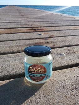 Hier ist SoloCoco Koksöl in seiner Heimat, dem karibischen Strand der Dominikanischen Republik