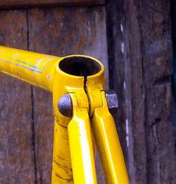 Schöne Details: Rennradrahmen um 1910, Sattelstreben