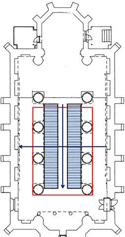 Grundriss der Kirche St. Marien und Bartholomäi in Harsefeld (Niedersachsen) mit Bänken und Lage der Ringschleife einer IndukTiven Höranlage