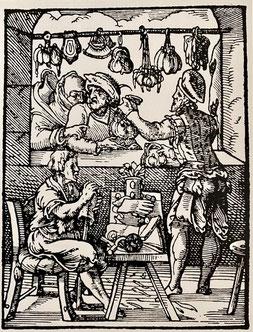 Kupferstich aus einem Buch der mittelalterlichen Zünfte