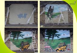 Ein Graffiti entsteht: Semor's Arbeit von der kahlen Wand zum fertigen Bild (Foto: D. Steinwarz)