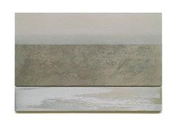 Scaletta III  2011  Kunstharz, Pigment, Steinmehl, Ölfarbe auf Gips / auf Holz  2 Teile  30 x 50 cm / 9 x 50 cm