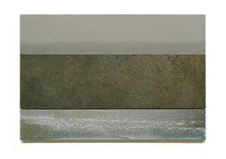 Scaletta I   2011  Kunstharz, Pigment, Steinmehl, Ölfarbe auf Gips / auf Holz   2 Teile  30 x 50 cm / 9 x 50 cm