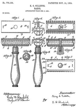 Patent Rasierhobel von King C. Gillette