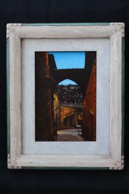 Via Appia di Perugia ペルージャのアッピア通り 25x17cm  油彩・板