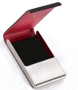 Visitenkartenetui Leder Edelstahl schwarz rot , Lederetui
