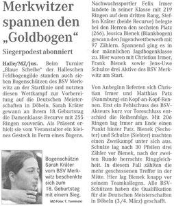 Artikel - Blaue Scheibe 2007 - BSV Merkwitz