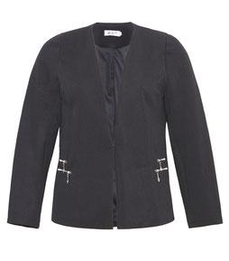 elegante schwarze Damen Jacke in großen Größen mit Spitze und Reißverschluss, schwarz und rosa