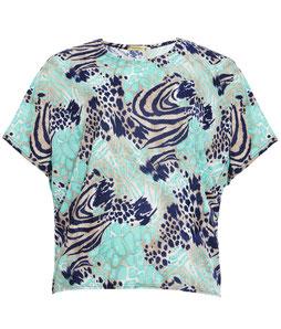 blau grünes T-Shirt für runde Frauen, Größe 42 bis 52