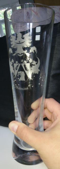 Wappen Glasgravur, Weizenbierglas, Bierglas, Gravur auf Glas