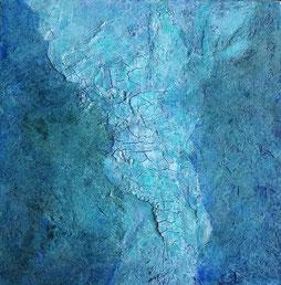 30 bij 30 cm schilderij op doek met zeegroene en turquooize tinten, met oplichtende parelmoeren vlakken
