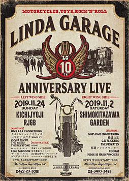LINDA GARAGE 10th Anniversary Live  〜Left Wing Side~  OPEN 14:30 / START 15:00  ¥2500+1D / ¥3000+1D  <お問い合わせ>  吉祥寺RJGB:0422-23-3091     https://www.rjgb.tokyo  【main stage】  MMS R&R ENGINEERING/ナオミ&チャイナタウンズ/シモジマ ユウキ team 己/LOOSE RIDER/THE VACKS/The KeySto