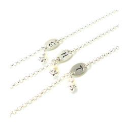 3er Set Silberarmband Brautjungfern Trauzeugin Mutter Tochter Schwester Brautjungfer Namensarmband mit Buchstaben Initialen und Perlenanhänger