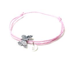 Beste Freundin - rosa Armband mit Silber Schmetterling und Stempelplättchen Buchstabe Initial