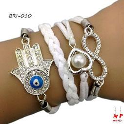 Bracelet infini blanc symboles main de Fatma et coeur perlé