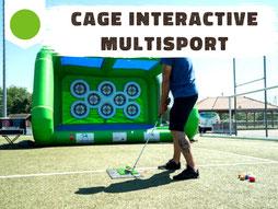 Location cage interactive football, handball, tennis, handball, avec cibles tactiles