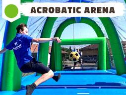 Location jeu gonflable retournée acrobatique football et handball