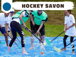 Hockey savon (soap hockey) patinoire d'été sport fun Annecy animation EVG, EVJF