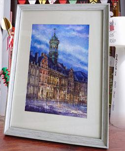 """Aquarelle 20 x 30 cm Reproduction """"Hôtel de ville Mons""""   - 30€"""