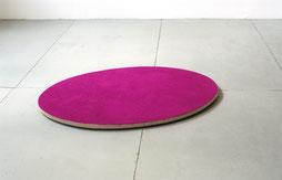 Matthieu van Riel. Zonder titel 65x90x1cm pigment op linnen op hout (ovaal) vloerobject 2005