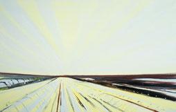 Matthieu van Riel Schilderijen. Aardappelveld Groningen 50x78cm olie op canvas 1998